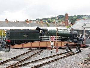 Minehead railway station - Bradley Manor on the new turntable
