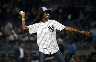 Deshauna Barber - Barber throws out the first pitch at Yankee Stadium