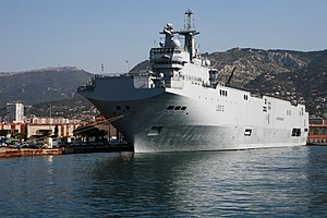 Command and Projection ship Mistral in Toulon harbour