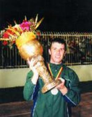 Mitko Stojkovski - Stojkovski with the 2001 Macedonian Cup following a 2–1 victory over Sloga Jugomagnat in the final.