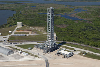Mobile Launcher Platform - Ares I MLP and crawler-transporter at east park site