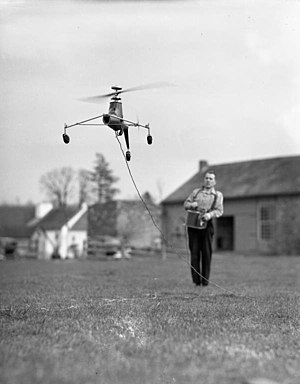 Arthur M. Young - Young controlling a model helicopter he built in 1941, photograph by Joseph Janney Steinmetz