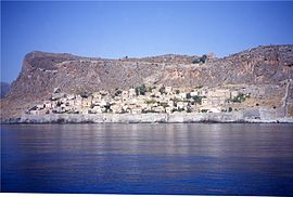 Monemvasia from the sea