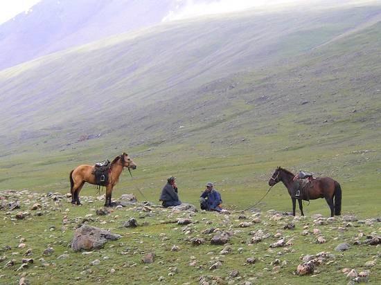Mongolie Ontmoeting tussen twee herders