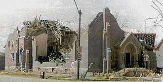 Monticello, Indiana - Destroyed Presbyterian Church following the Super Outbreak