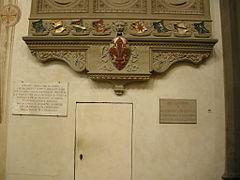 Monumento onorario a colombo, vespucci e toscanelli dal pozzo, lapidi organo e a vespasiano da bisticci