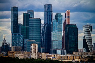 commercial district in central Moscow, Russia