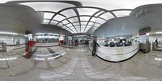 Kotelniki (Moscow Metro) - Image: Moscow metro Kotelniki station opening day Escalator 1 PANO 20150921 205355