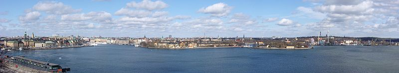Fra den Gamle by i vest til Beckholmen i øst, Skeppsholmen og Kastelholmen i midten, 30 marts 2009.