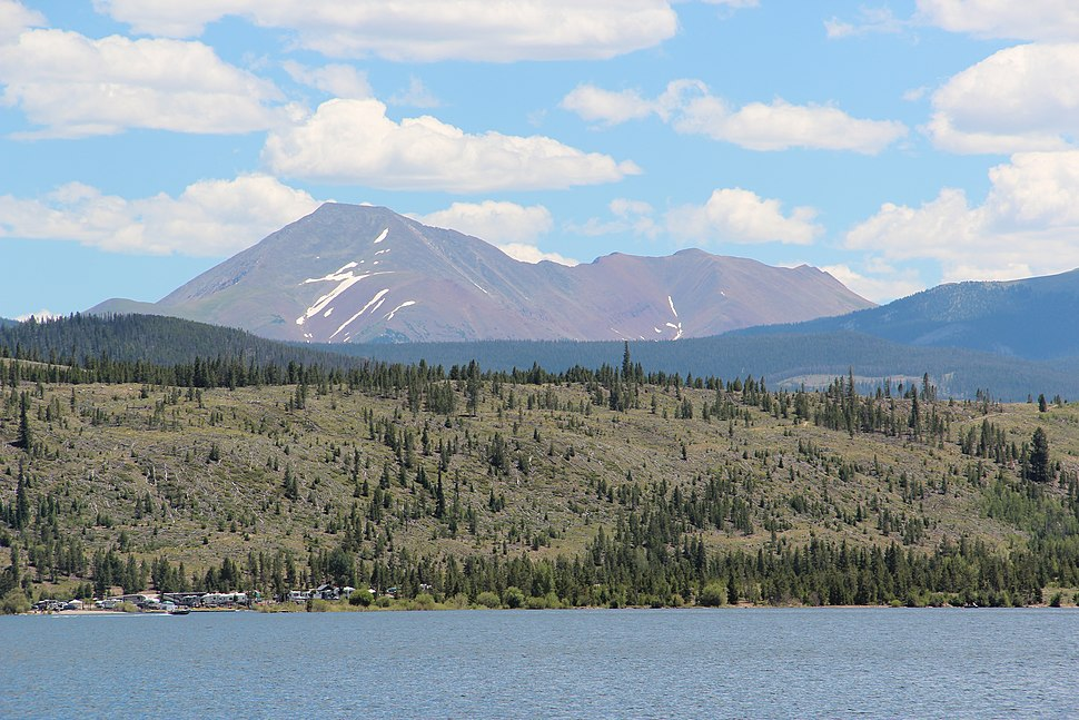 Mount Guyot (Colorado) viewed from Dillon Reservoir July 2016