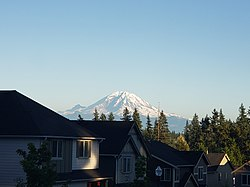 Mount Rainier as seen from a Covington neighborhood
