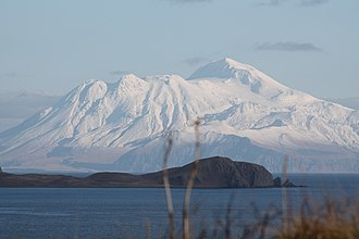 Adak, Alaska - Kanaga Island view with Telephoto from Adak, AK