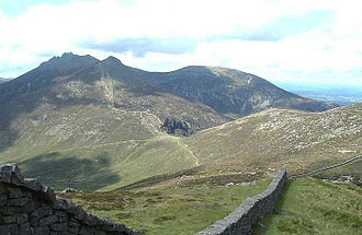 Mourne Mountains - The Mourne Wall, looking towards Hare's Gap