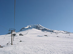 Timberline Lodge Ski Area, showing the Magic Mile and Palmer chairlifts with Silcox Hut at right center
