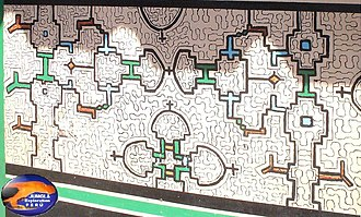 Icaro - Kené patterns on a wall mural.