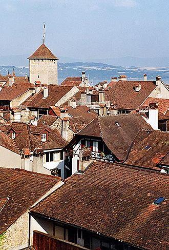 Murten - View over the compact old city of Murten/Morat