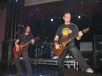 Myles Kennedy - Kennedy (left) performing with Alter Bridge in 2008.