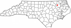 Location of Lewiston Woodville, North Carolina