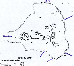 Black and white map of Truk Lagoon, showing the location of some of the islands referred to in the article
