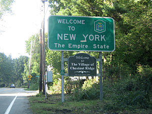 New York State Route 45 - NY 45 begins here at the New York–New Jersey state line in Chestnut Ridge.