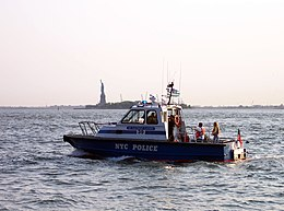 An NYPD boat patrols the New York Harbor.
