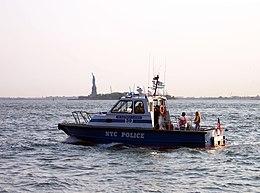 An NYPD boat patrols the New York Harbor.