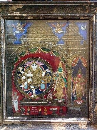 Thanjavur painting - Nataraja flanked by Sivagami, circa 19th century