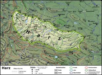 Upper Harz - Image: Naturraumkarte Harz