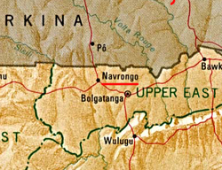 Location of Navrongo. Navrongo is in the north east of North Ghana, beside the برکینا فاسو border.