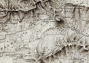 Battle of Mount Tabor (1799) - Location of battle, as given on map by Pierre Jacotin, 1826.