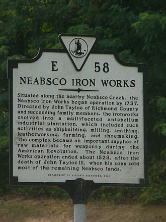 Neabsco Iron Works - Neabsco Iron Works marker, located near the Neabsco Iron Works on Route 1, AKA Jefferson Davis Hwy, AKA The Kings Highway, AKA The Potomac Path