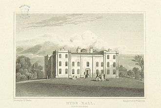 Sawbridgeworth - Print of Hyde Hall (1818) by J. P. Neale
