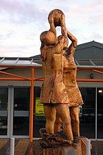 A netball sculpture at Invercargill Airport, Southland.