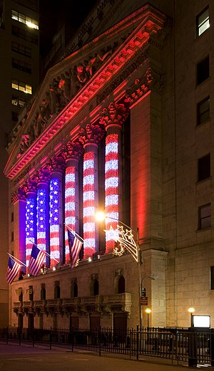 English: The New York Stock Exchange on Wall S...