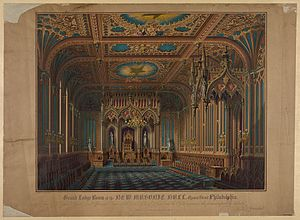 Max Rosenthal - Interior of the old Masonic Temple (demolished) of Philadelphia, drawn and chromolithographed by Max Rosenthal (1854)
