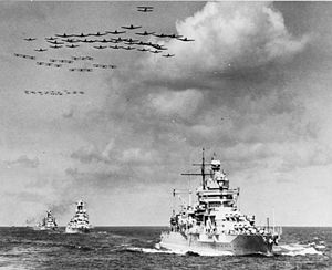 Carrier air wing - A Carrier Air Group over battleships in 1940.