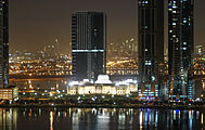 Night view of the New Sharjah Chamber of Commerce.