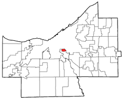 Location of Newburgh Heights in Cuyahoga County