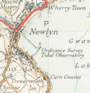 Newlyn - A map of the town from 1946 showing the tidal observatory