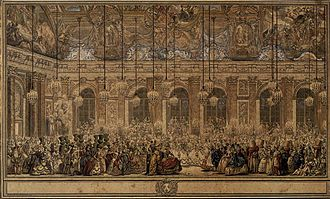Palace of Versailles - A masked ball in the Hall of Mirrors (1745) by Nicolas Cochin