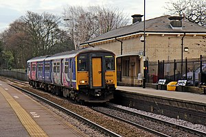 Huyton railway station - Northern Class 150 heading to Liverpool in 2014