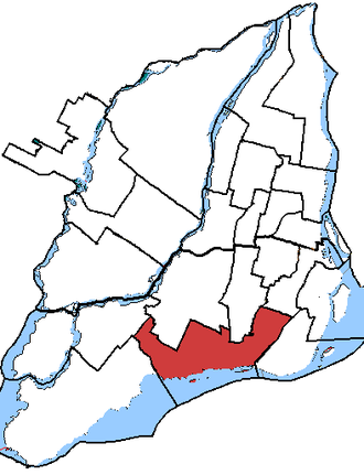 Notre-Dame-de-Grâce—Lachine - Notre-Dame-de-Grâce—Lachine in relation to other federal electoral districts in Montreal