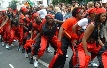 The annual Notting Hill Carnival in London is a celebration led by the Trinidadian and Tobagonian British community. Notting Hill Carnival 2002 large.jpg