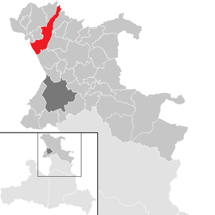 Location of the municipality of Nußdorf am Haunsberg in the St. Johann im Pongau district (clickable map)