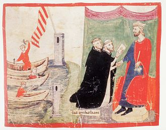 Peter III of Aragon - King Peter III is preparing his trip to the Kingdom of Sicily. The King receives the visit of two Dominican friars, envoyes of  Pope Martin IV (supporter of Charles d'Anjou) trying to persuade him not to sail to Sicily. (Nuova cronica. f.123v (1.VIII,60) ms. Chigiano L VIII 296)