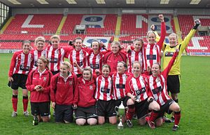 Sincil Bank - Lincoln Ladies with the County Cup in front of the Co-op stand