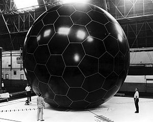 PasComSat - OV1-08 PasComSat Grid-Sphere Satellite when inflated, showing plastic designed to later dissolve.