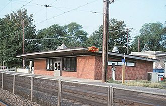 Odenton station - Odenton station in 1995, with PRR sign on the station house
