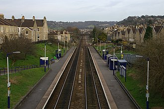 City of Bath Technical School - Oldfield Park railway station. Showing Brougham Hayes bridge in the distance.