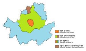 History of Seoul - Map of Hanseongbus territory